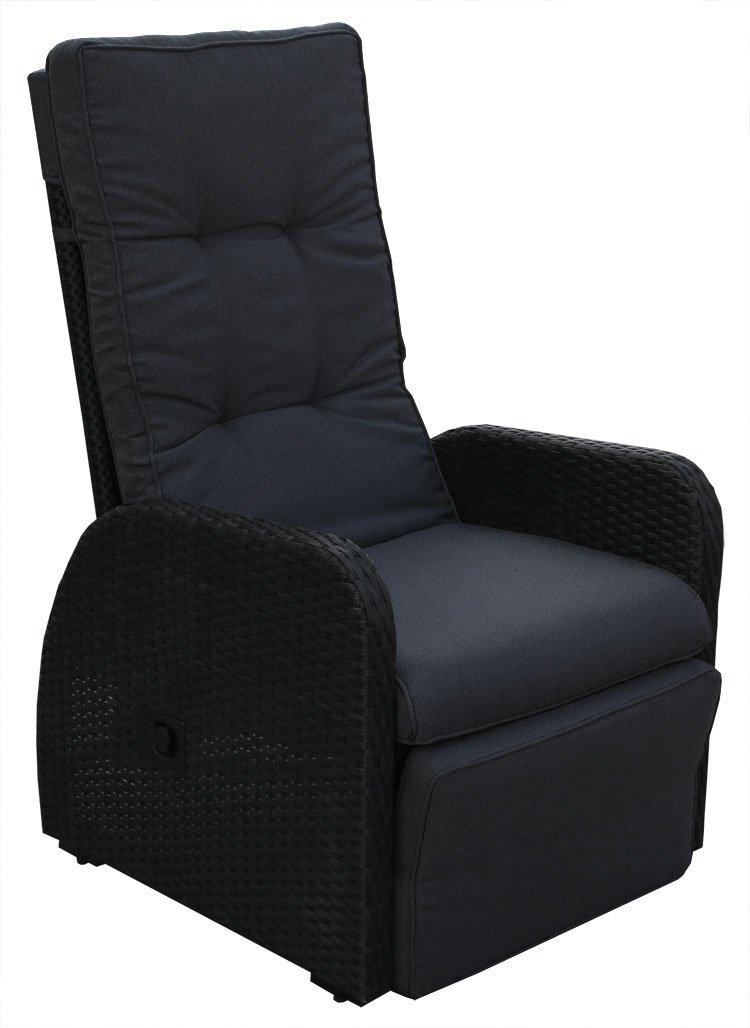 KMH®, Polyrattan Liegestuhl Bob inklusive Auflage  (schwarzes Polyrattan - anthrazitfarbene Auflage) ( 106058)