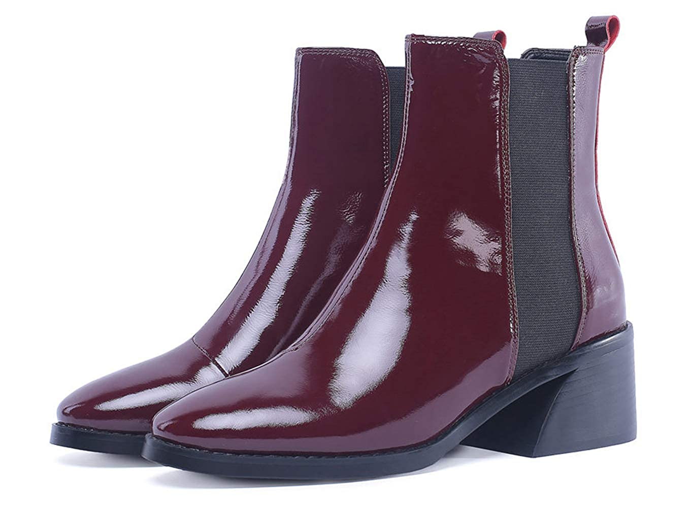Wine Red LVYING Womens Patent Leather Ankle Boots Winter Square Hoof High Heel Round Toe Outdoor Short Booties