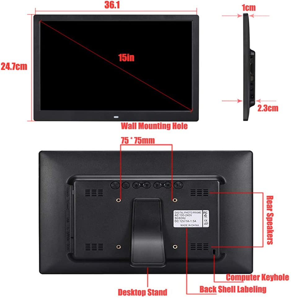 Support Hdmi Input Electronic Photo//Music//Video Frame 16:9 Wide Screen with Remote Control Digital Picture Frame Best Gift for Your Christmas New Year