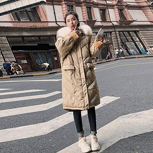 Femme La Zipp Unie Laine Parka Chaude Coat Outwear Kaki Hiver Mode Polaire Manteau Collier Veste en Long Fourrure Couleur Winter Slim Susenstone Capuche Fille Manteau EP7Inw
