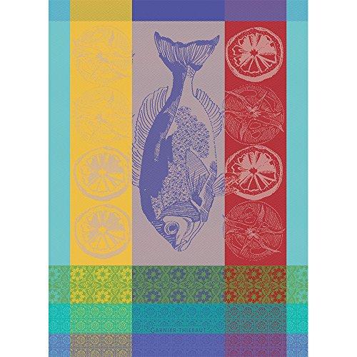 Garnier Thiebaut, Plancha Turquoise Woven French Kitchen / Tea Towel, 100 Percent - Tea French Towel