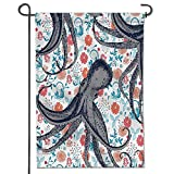 """aolankaili Garden Flag for Yard Decorations and Outdoor Decor Sealife Sea Monster Octopus Kraken with Tentacles and Colorful Flowers Polyester Fabric Double Sided -12"""" x 18"""""""