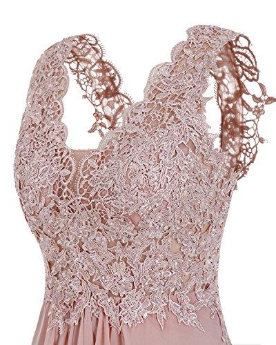 Bridesmay Vestito Corallo Abito V D'onore Della Lungo Sera Damigella Chiffon Applique Convenzionale collo r7xqvwHrE