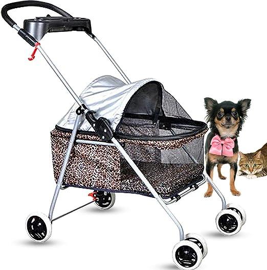 Cochecito para perros de gato para mascotas pequeñas y medianas de hasta 35 lb; jaula plegable para gatito, viaje, carrito de paseo, resistente, 4