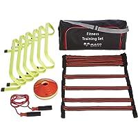 Top coördinatie trainingsset voor indoor outdoor training - 6x horden, 5 meter trainingsladder, 20x markeerhoedjes en…