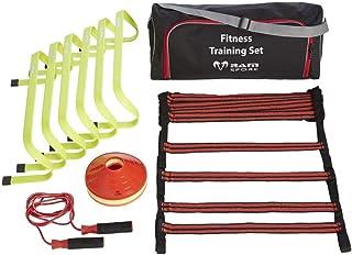 RAM Sports - Top Koordinationstraining Set für Indoor Outdoor Training - 6x Hürden, 5m Trainingsleiter, 20x Hütchen und Springseil