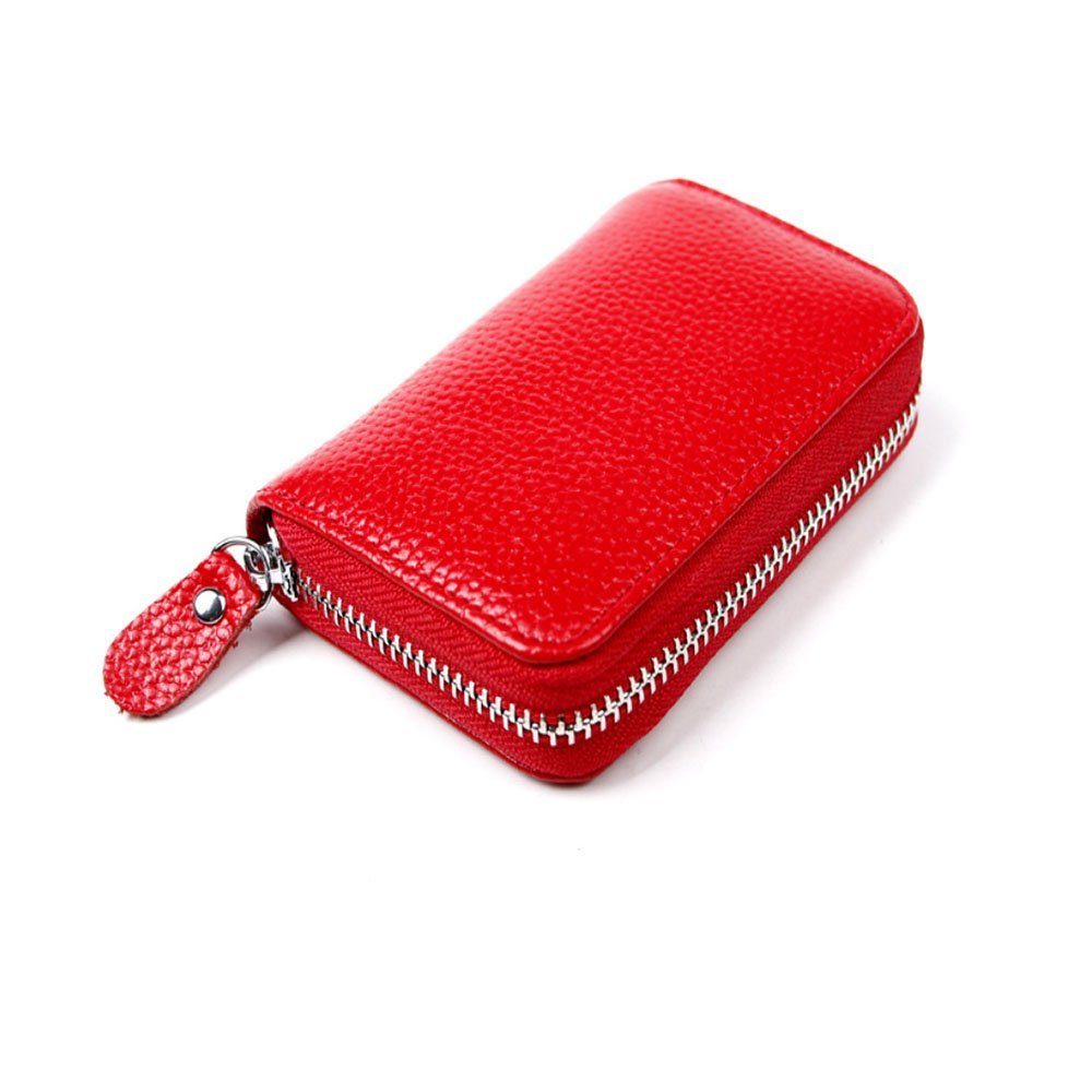4 Colors Leather ID Holder Credit Card Holder+RFID Blocking Men's Women's ID Credit Card Wallet Leather Card Cases-4 Colors 4 Choices(Red)