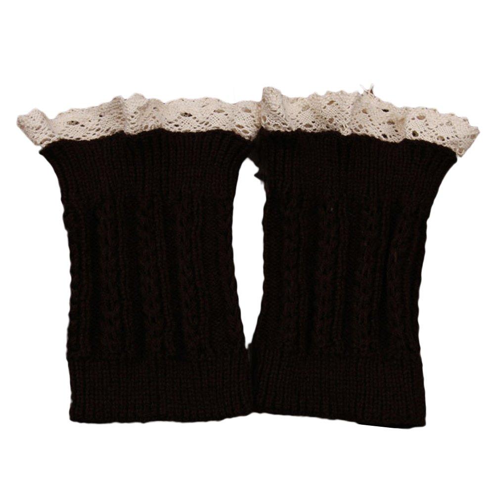 TININNA Donna Autunno e Inverno pizzo corte paragrafo caldi Calze di lana scaldino gambe Scaldamuscoli Beige