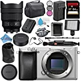 Sony Alpha a6300 Mirrorless Digital Camera (Silver) ILCE-6300/S + Sony FE 12-24mm f/4 G Lens SEL1224G + NP-FW50 Replacement Lithium Ion Battery + External Rapid Charger Bundle