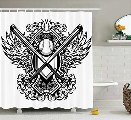 [Sports Decor Collection Baseball Bats Ornate Wing Background Antique Vintage Style Floral Artwork Pattern Polyester Fabric Bathroom Shower Curtain Balck and] (Bat Wings Costume Template)