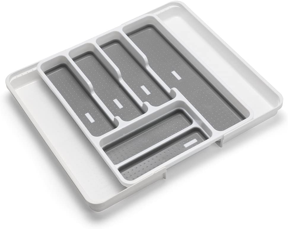 Addis Extendable Drawer Organiser Cutlery Utensil Tray Compartment Holders, Fits 35-58.5cm wide, White Grey, 6-8 sections
