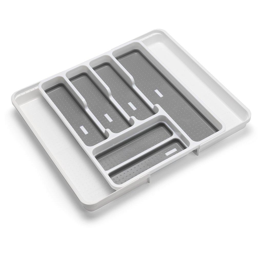 8/Compartiment Supports 35/au 58,5/x D41.5/X H5/cm Addis Organiseur de tiroir Extensible Couverts ustensile Plateau 6 Blanc Gris