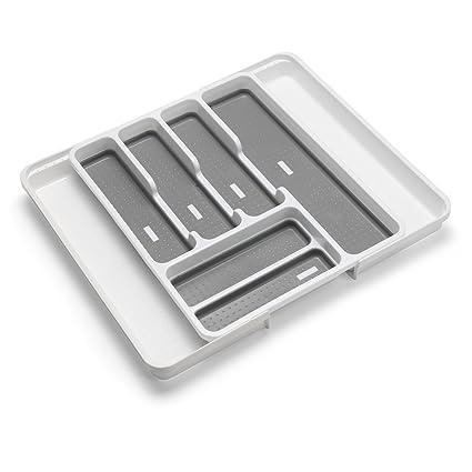Addis Organizador de cajones Extensible para Cubiertos con 6 – 8 Compartimentos, White Grey,