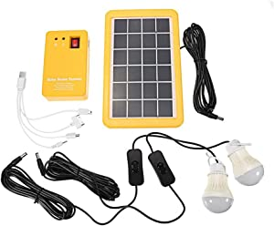 Outdoor Portable Solar Home System Kit DC Solar Panel Power Generator LED Light Bulbs Solar Camping Lighting System with USB Charger