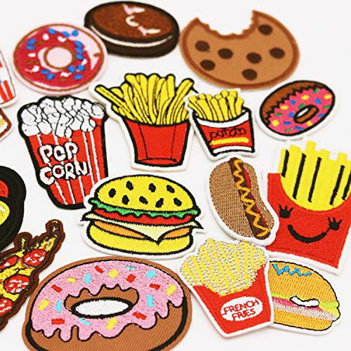 17pcs Burger Cake French Fries Iron on Patches Embroidered Motif Applique Dec#31
