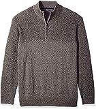 IZOD Men's Big and Tall Newport Marled Quarter Zip 7 Gauge Textured Sweater, Light Grey Heather, 5X-Large