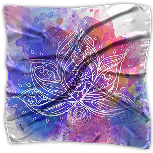 Ornamental Silk Square Scarf - Ornamental Lotus Flower Women's Square Scarf Headdress Fashion Neckerchief