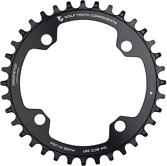 Black 1x Narrow Wide Ring Wolf Tooth Components 34t 104bcd Drop-Stop Chainring