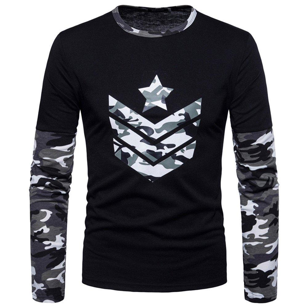 Men's Shirt ,Clearance Sale -Farjing Fashion Men's Autumn Camouflage Print Joint Long Sleeved Sweatshirts Top Blouse(2XL,Gray)