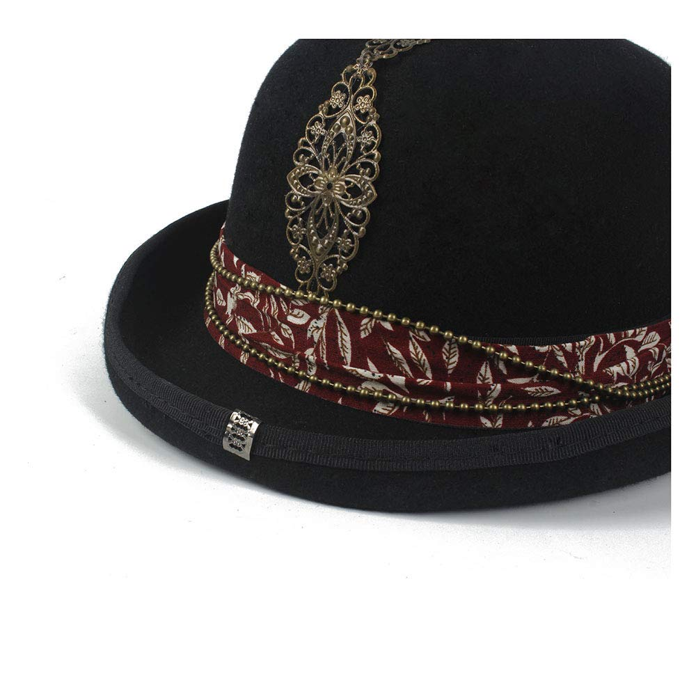 LL Women's Vintage Steampunk Red Plus Metal Decoration with Black Top Hat Universal Couple Brown Fedora Party Hat Headgear (Color : Black, Size : 57cm) by LL (Image #6)