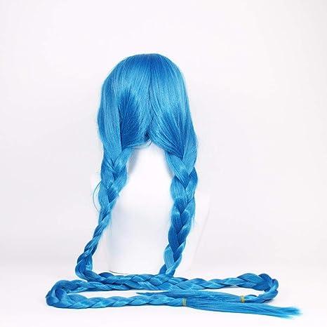 RTGFS Vevefhuag Lol Jinx Cosplay pelucas mujeres azul doble cola ...