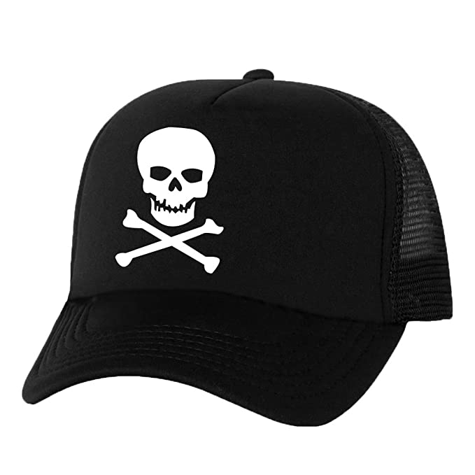 Skull and Cross Bones Truckers Mesh snapback hat in Black - One Size ... 557bef4d7a5