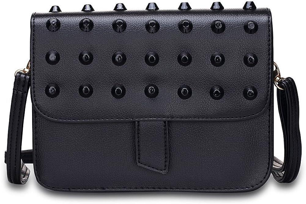 Assorted Colors Rivets solid color Tote shoulder trend -Black
