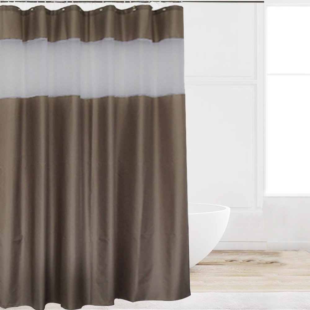 Eforcurtain Small Width Size 36 by 72 Inch Waterproof Mildew Resistant Shower Curtain White Organza Stripe, Durable Polyester Bath Curtains Sets with Free Plastic Hooks, Brown