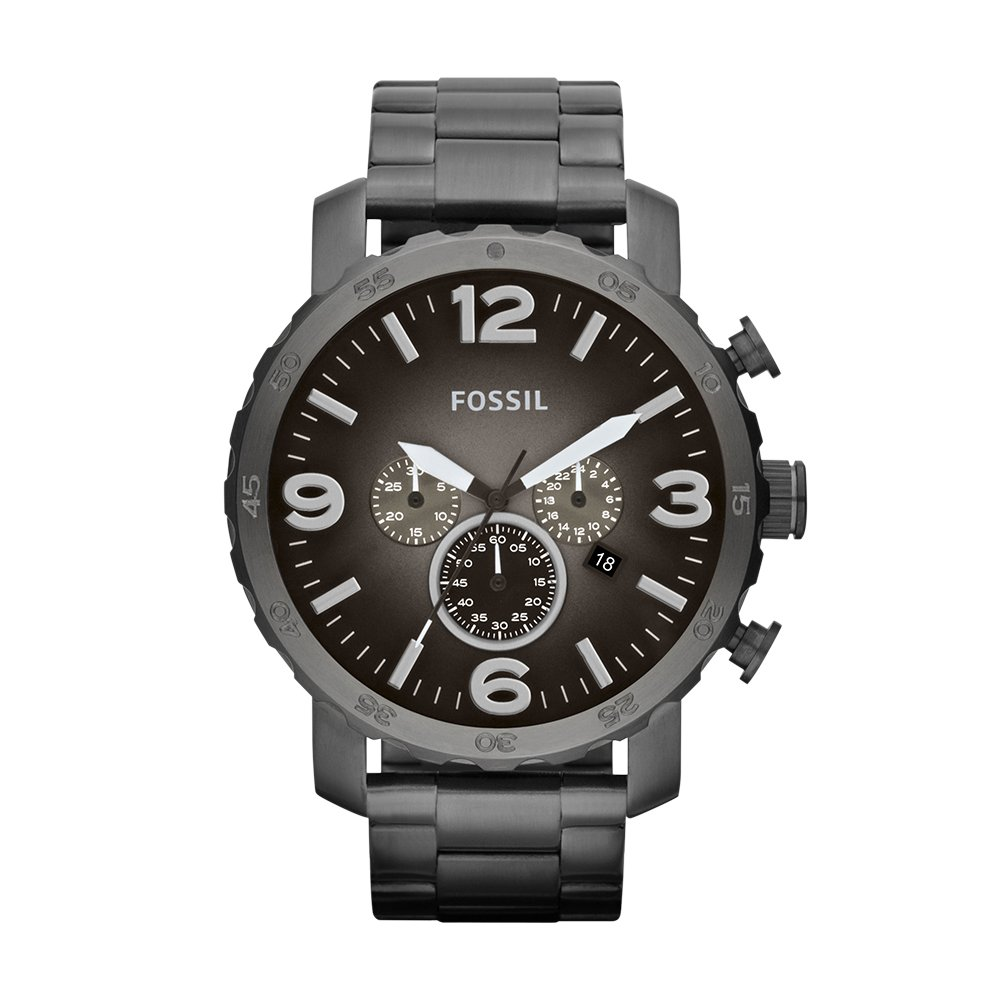 Fossil Men's Nate Smoke Bracelet And Gunmetal Dial Watch by Fossil
