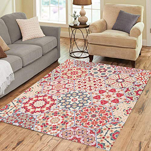Semtomn Area Rug 2' X 3' Red Pattern Abstract Tiles Colorful of Hexagonal Mosaic Kaleidoscope Home Decor Collection Floor Rugs Carpet for Living Room Bedroom Dining Room