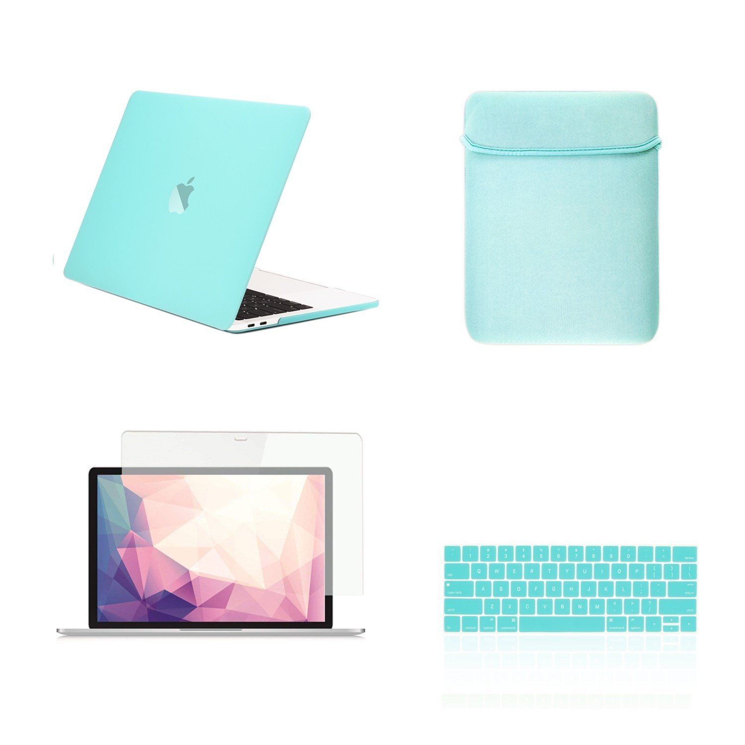 TOP CASE - 4 in 1 Matte Hard Case,Keyboard Cover,Sleeve Bag,Screen Protector Compatible with MacBook Pro 13-inch A1989,A1706 with Touch Bar/A1708 Without Touch Bar (Release 2017,2016,2018) - Hot Blue