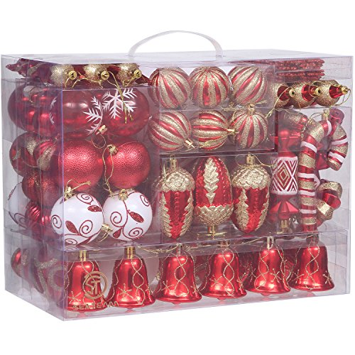 Christmas Hanging Ornament Set (Sea Team 155-Pack Assorted Shatterproof Christmas Ball Ornaments Set Decorative Baubles Pendants with Reusable Hand-held Gift Package for Xmas Tree (Red))