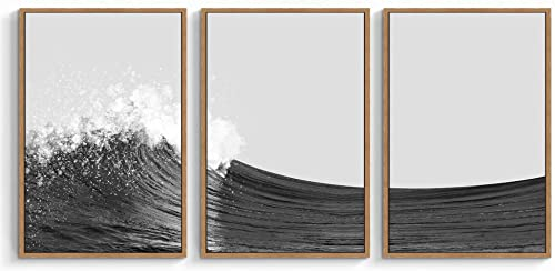 SIGNWIN 3 Piece Framed Canvas Wall Art Large Wave