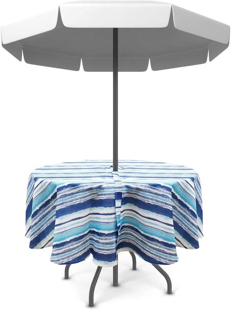 Olgaa - Mantel impermeable para jardín, patio, exterior, con agujero para sombrilla y cremallera, apto para mesa de jardín, reuniones familiares, primavera y verano