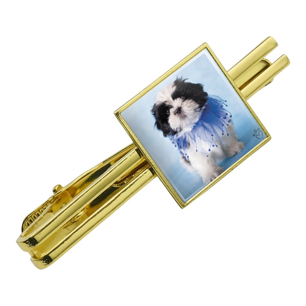 Silver or Gold Graphics and More Shih Tzu Puppy Dog Jester Blue Square Tie Bar Clip Clasp Tack