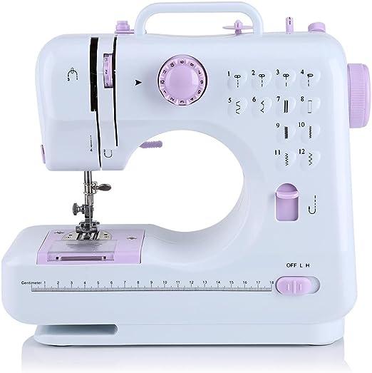 Zerone - Máquina de coser eléctrica multifunción portátil profesional con 12 tipos de puntadas - Máquina de coser manual para principiantes: Amazon.es: Hogar