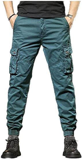 YAXINHE Men's Relaxed-Fit Rugged Wear Long Pants Retro Classic-Fit Jogger Pant