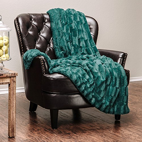 Chanasya Fuzzy Faux Fur Elegant Rectangular Embossed Throw Blanket - Plush Sherpa Microfiber Evergreen Blanket for Bed Couch (50x65 Inches) Teal (Green Decor Teal)