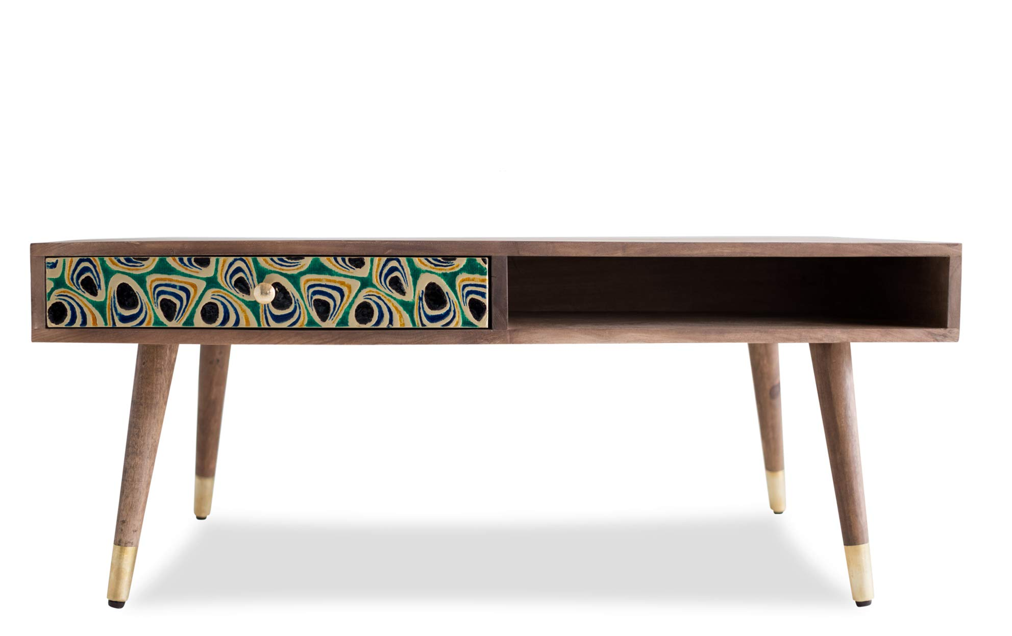 Edloe Finch Mid-Century Modern Coffee Table with Drawer Painted Peacock, Honey by Edloe Finch