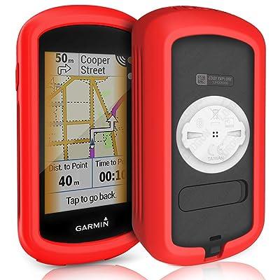 TUSITA Case for Garmin Edge Explore GPS - Silicone Protective Cover - Touchscreen Touring Bike Computer Accessories (Red)