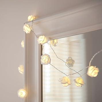 af7107b1225 Lights4fun Guirnalda DE 20 Luces de LED de Rosas Blancas (de Pilas)   Amazon.es  Hogar