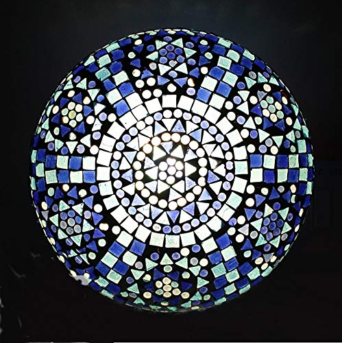 earthenmetal Glass Mosaic LED Round Ceiling lamp, Blue, 10inches Dia, 50W
