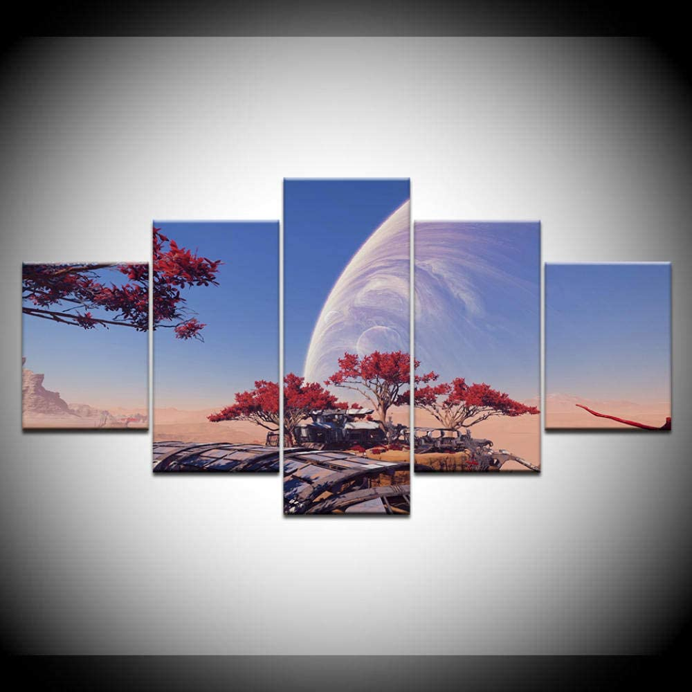 HAIYOUYOU HD Printed 5 Piece Canvas Art Mass Effect Andromeda Game Picture Painting Wall Picture Living Room Bedroom Decor Print Poster -size2-With Frame