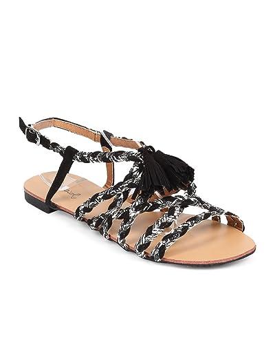 ea294b27785d Women Mix Media Open Toe Woven Criss Cross Slingback Gladiator Sandal EA32  - Black White