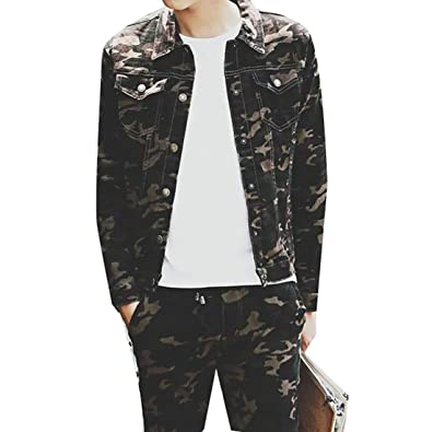 Amazon.com: ptyhk RG Mens Slim Camo Print Denim Chaquetas ...
