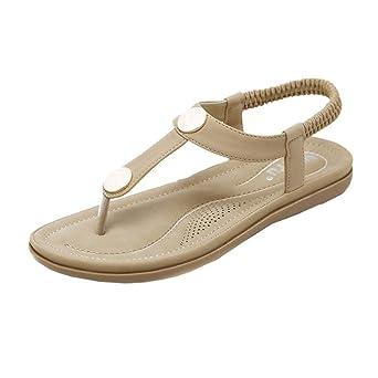 Zehentrenner, FEITONG Damen Sandalen Zehentrenner Bohemian Niet Sandalen Sommer Strand Schuhe Frau Peep-Toe Sandalen Anti-Rutsch Schuhe (CN:36, Blau)