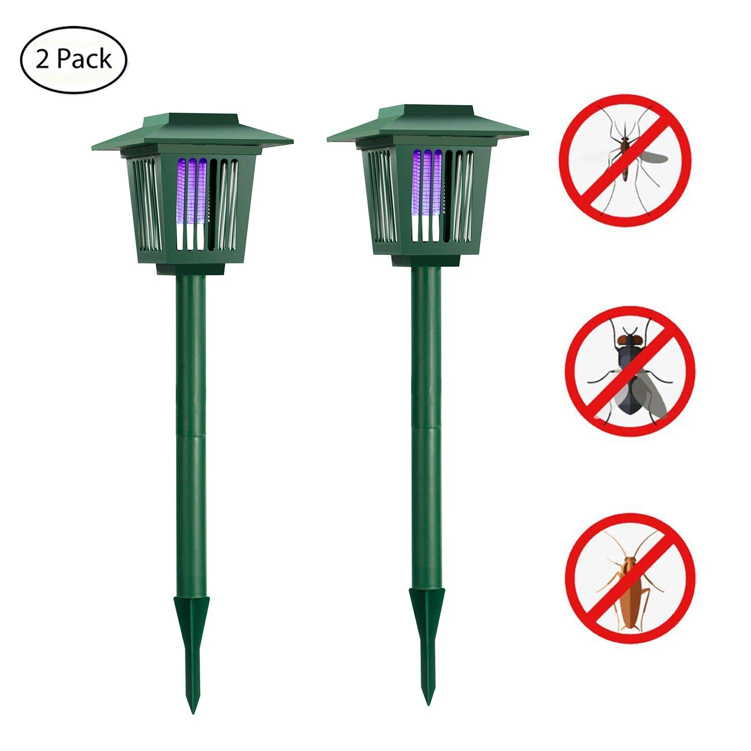 [2 pack] Solar Powered Bug Zapper Light, Solar Mosquito Killer Insect/Fly/Mosquitoes/Moths/Flies Killer Trap LED Garden Lawn Lamp Electronic Insects Killer Waterproof for Outdoor Use Pest Control HUYHU