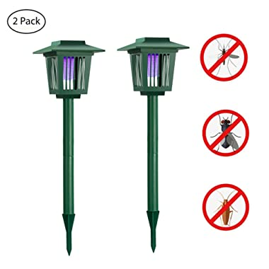 [2 pack] Solar Powered Bug Zapper Light, Solar Mosquito Killer Insect/Fly/Mosquitoes/Moths/Flies Killer Trap LED Garden Lawn Lamp Electronic Insects Killer Waterproof for Outdoor Use Pest Control