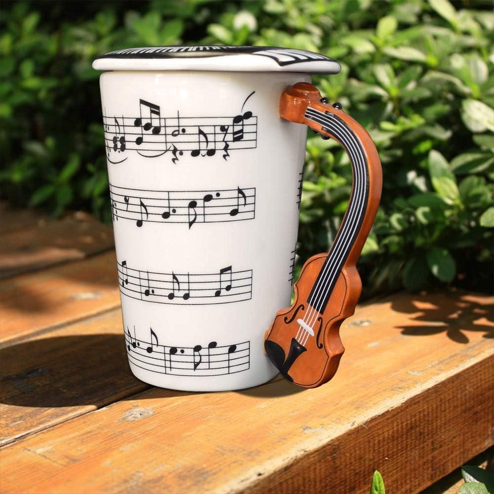 Giftgarden Tazza Colazione con Manico a Disegno di Violino Classico 400ml
