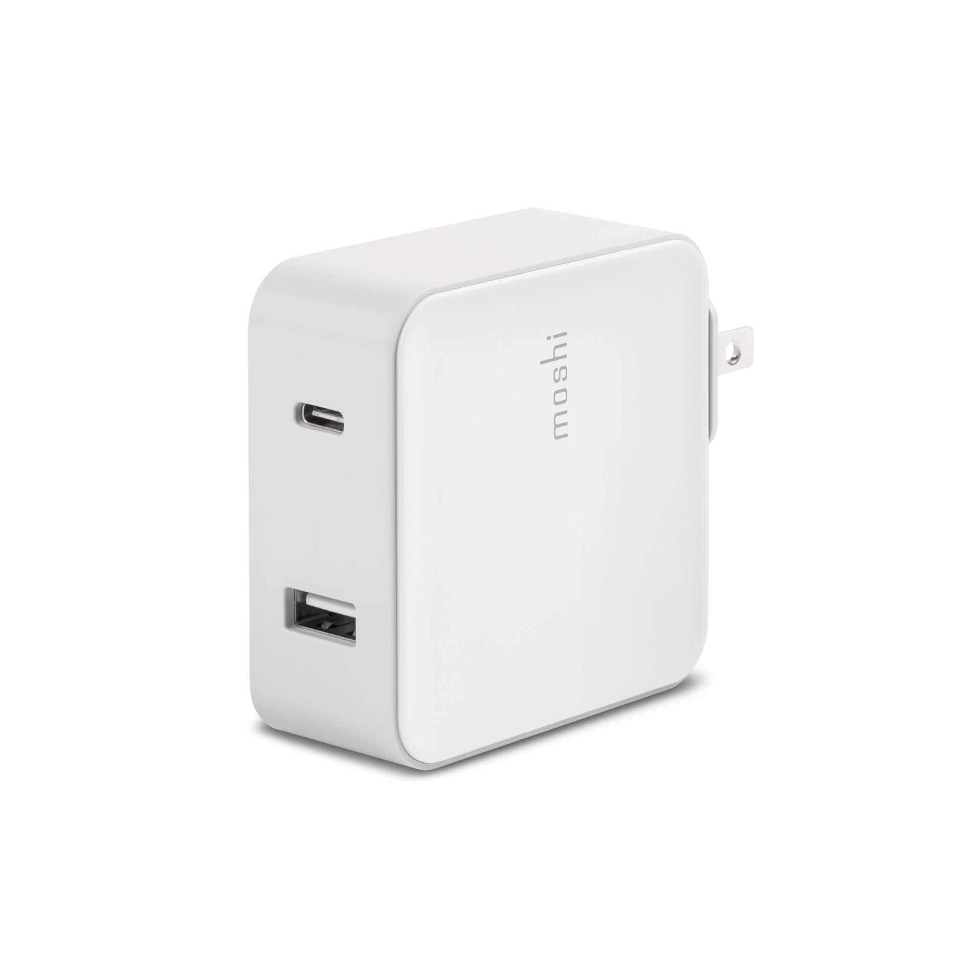 Moshi ProGeo USB-C Wall Charger (42 W, US), USB-C and USB, PD3.0 and QC3.0